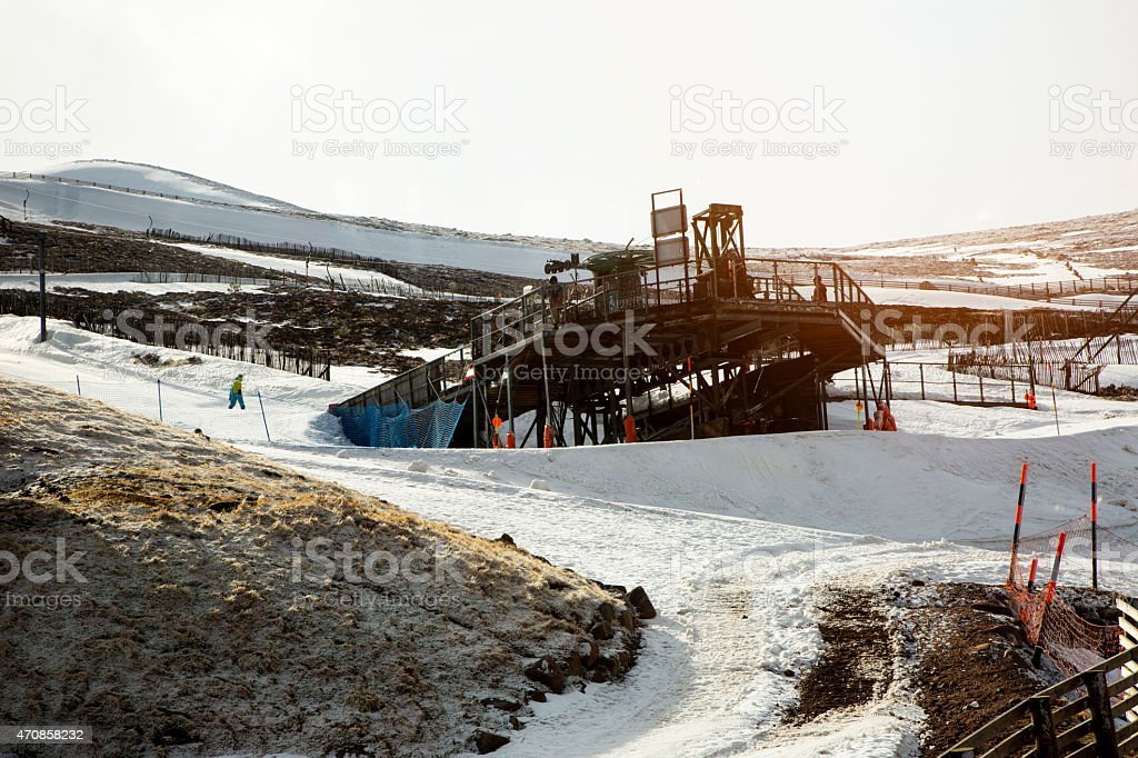 Snowy Skii station stock photo