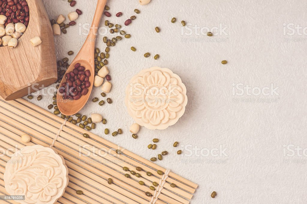 Snowy skin mooncakes. Chinese mid autumn festival raditional foo stock photo