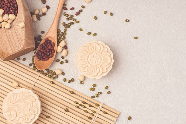 Snowy skin mooncakes. Chinese mid autumn festival raditional foo stock photo