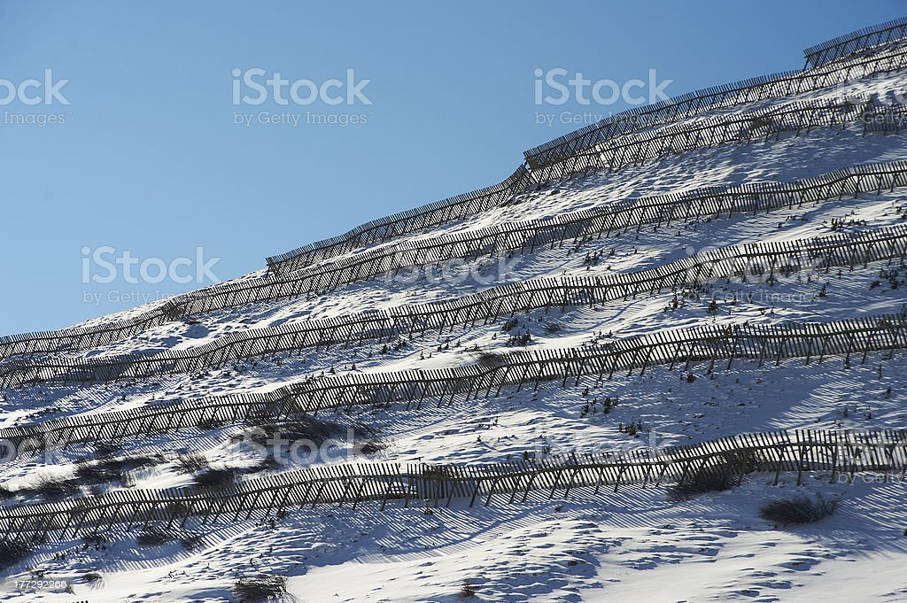 Snowy slope with protection from avalanches royalty-free stock photo