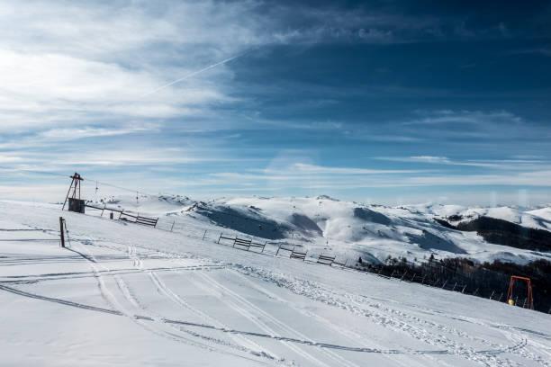 Snowy slopes in 3-5 Pigadia ski center, Naoussa, Greece stock photo