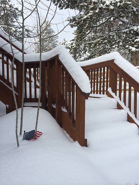 Snowy steps with American Flag sculpture stock photo