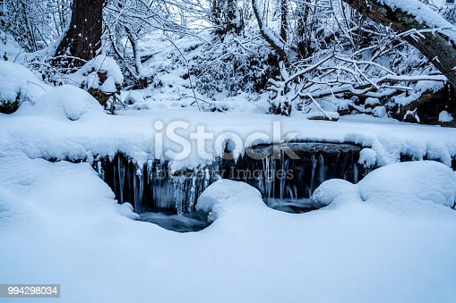 1141614053 istock photo snowy stream with a little waterfall frozen water closeup 994298034