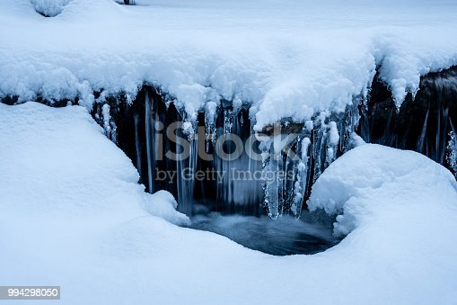 1141614053 istock photo snowy stream with a little waterfall frozen water closeup 994298050