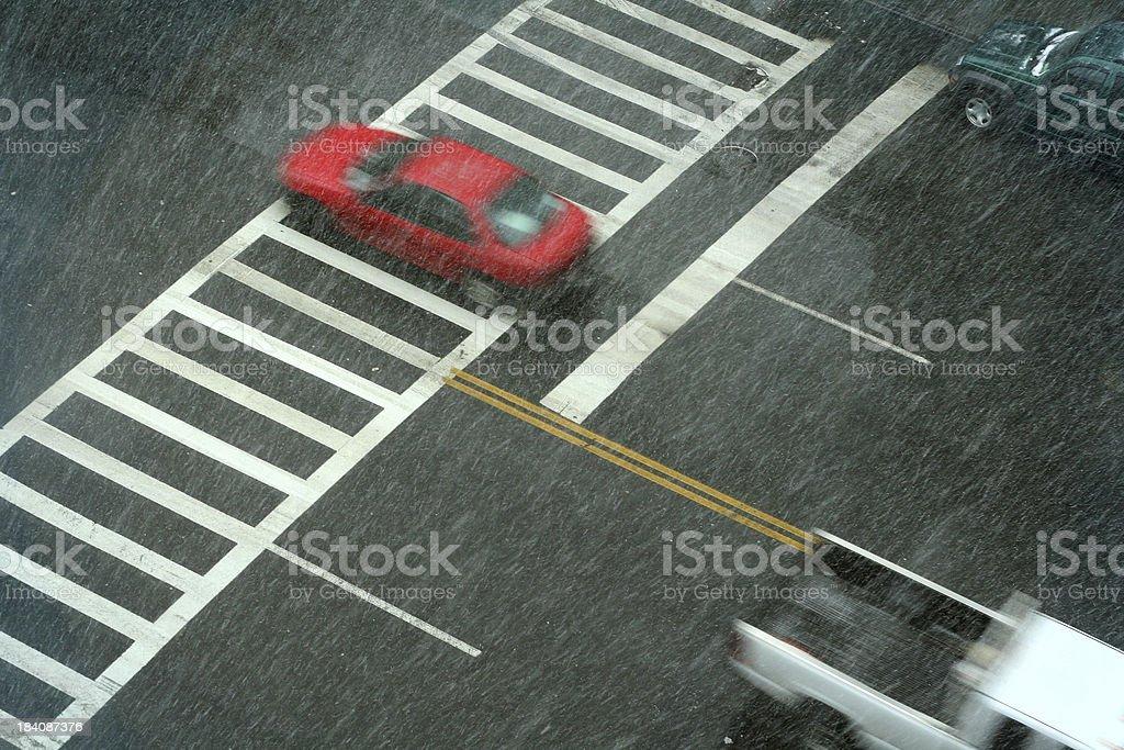 Snowy Street stock photo