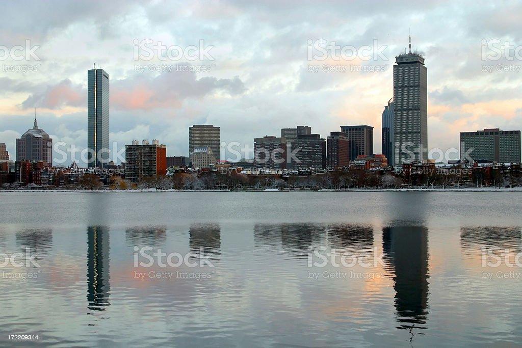 Snowy Sunset in Boston stock photo