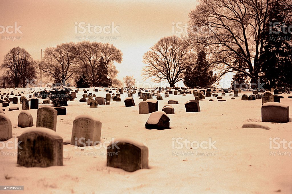 Snowy Sunset Over Greenwood Cemetery stock photo