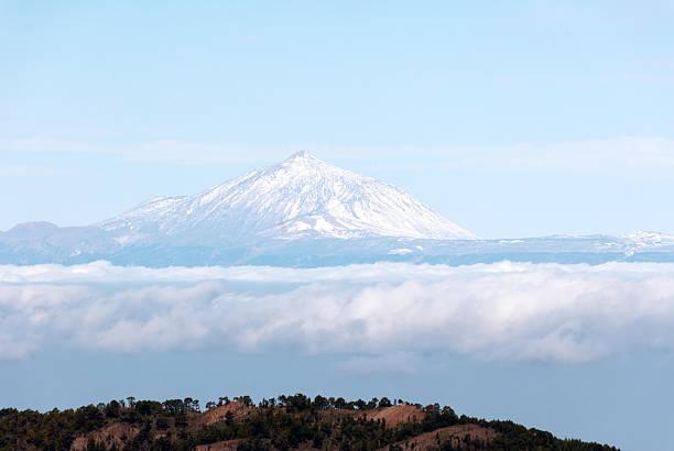 Snowy Teide stock photo