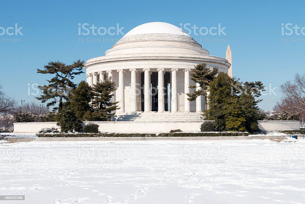Snowy Thomas Jefferson Memorial stock photo