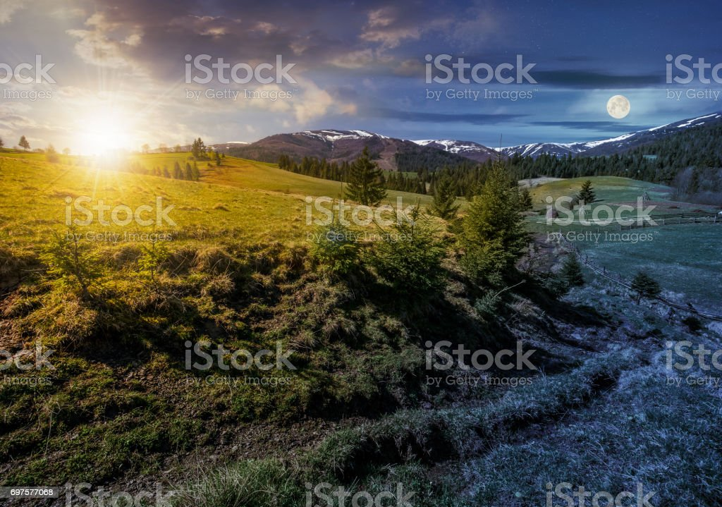 snowy tops of carpathians in springtime stock photo