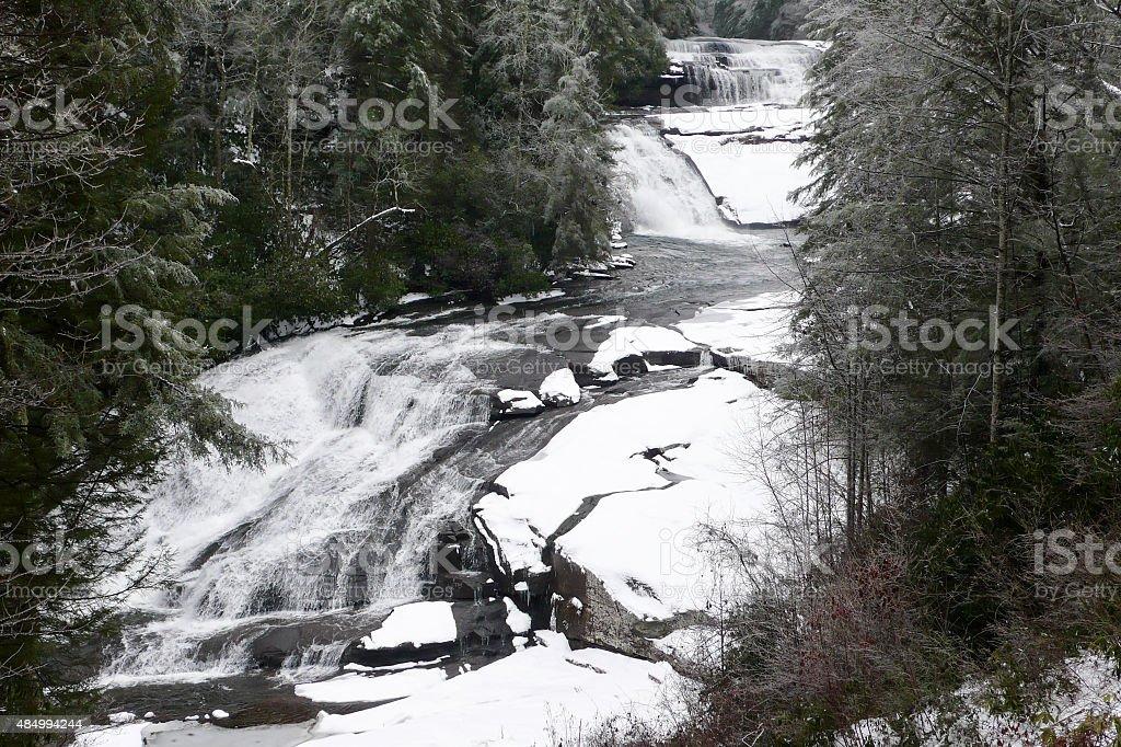 Snowy Triple Falls stock photo