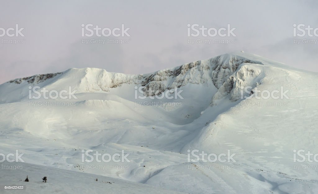 Snowy Uludag mountains stock photo