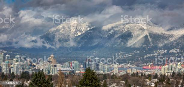 Photo of snowy view from Queen Elizabeth Park, Vancouver, BC, Canada