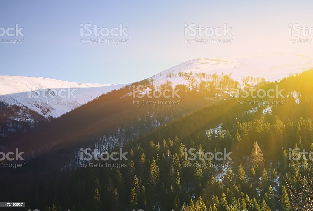 Snowy view in Carpathian Mountains. royalty-free stock photo