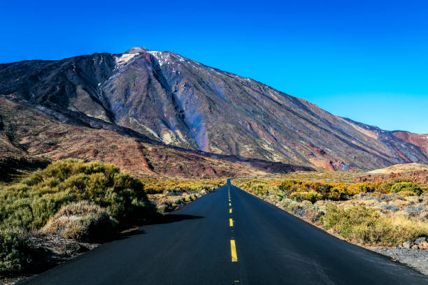Snowy volcano EL Teide, National Park, Tenerife, Spain stock photo