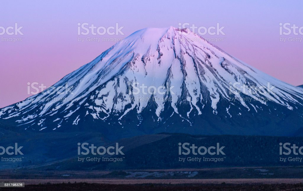 Snowy volcano stock photo