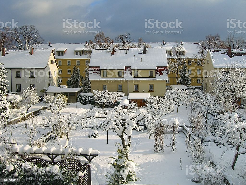 Snowy white day in Germany royalty-free stock photo