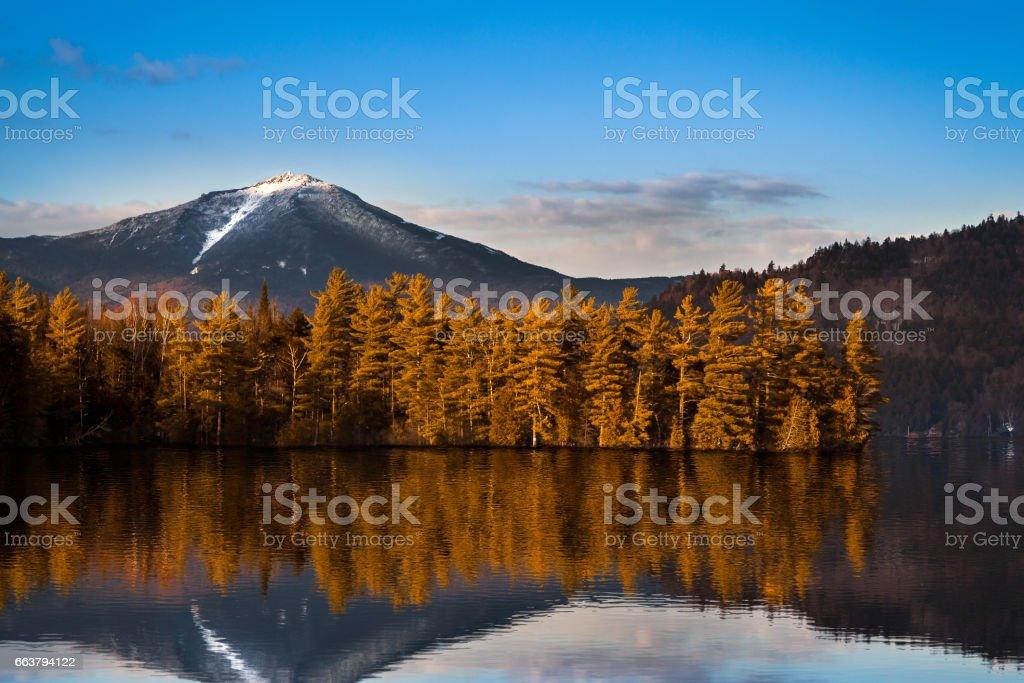 Snowy Whiteface mountain stock photo