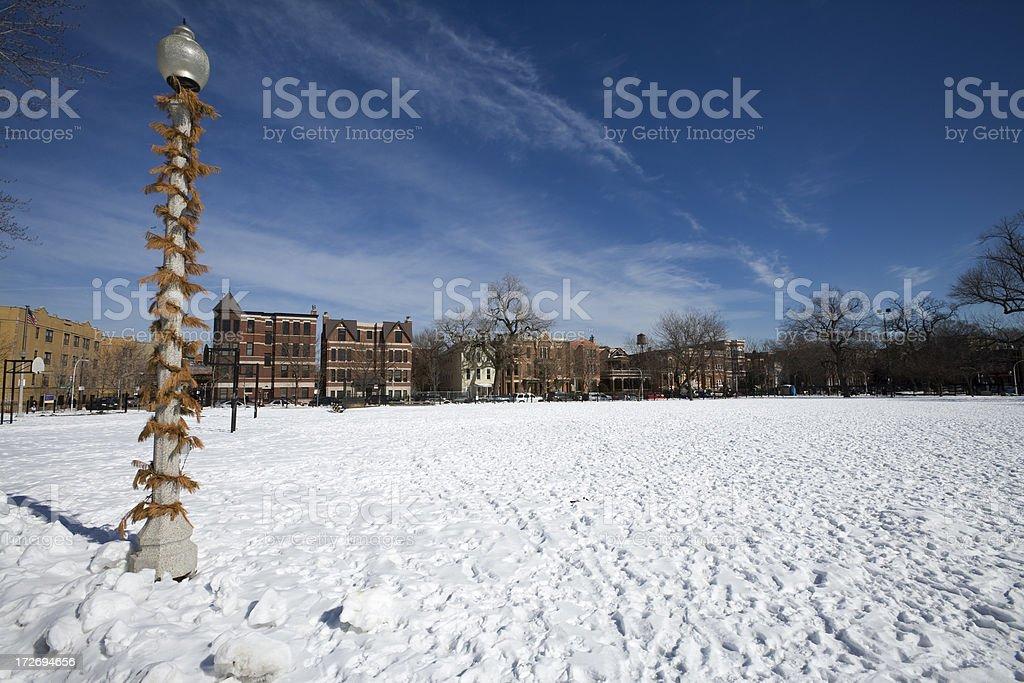 Snowy Wicker Park Chicago royalty-free stock photo