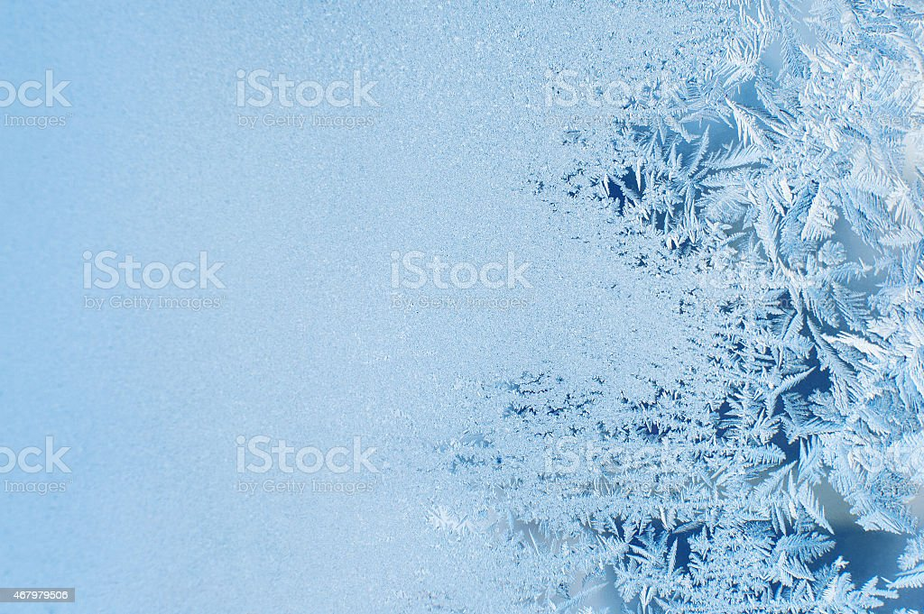 A snowy window frosted overnight  stock photo