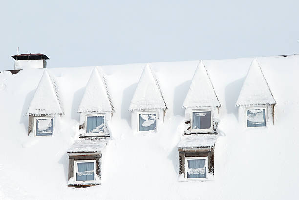 snowy windows stock photo