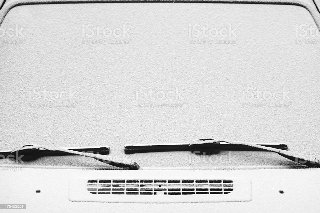 Snowy windscreen stock photo