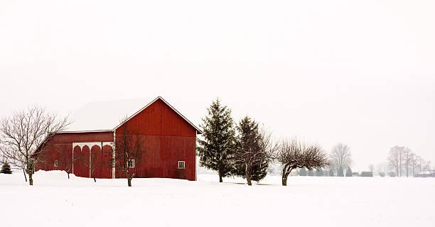 Snowy Winter Barn stock photo