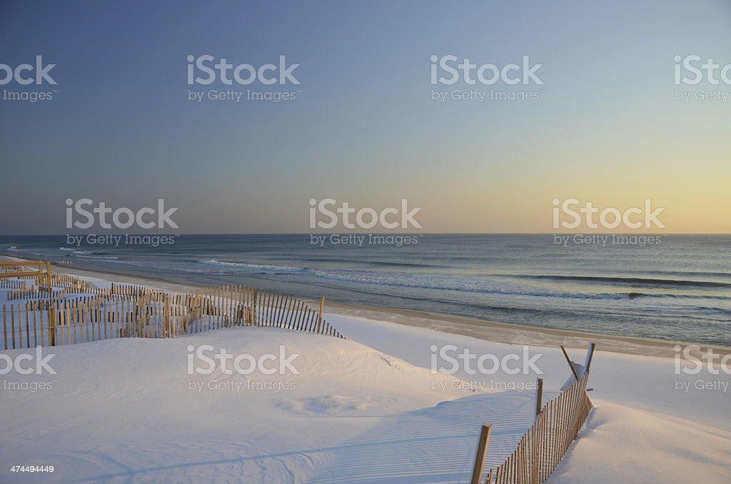 Snowy winter beach in New Jersey stock photo