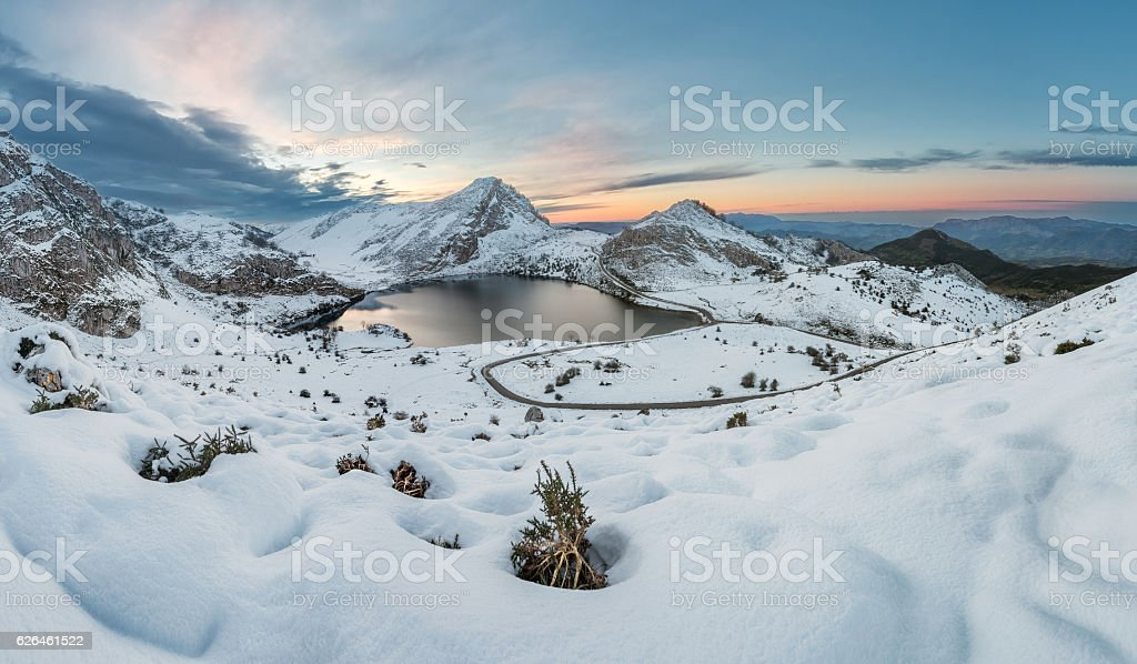 Snowy winter breathtaking natural landscape in Asturias, Spain. stock photo