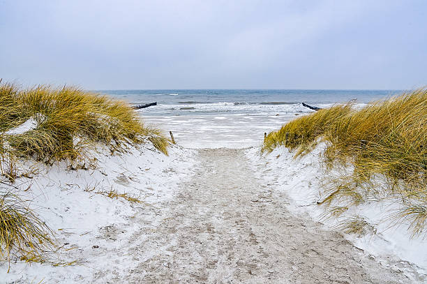 Snowy winter day at the Baltic Sea Beach stock photo