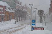 Snowy winter day in town of Vordingborg in Denmark