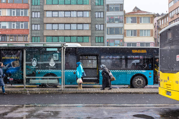 Snowy winter day view from Kadikoy public bus station stock photo