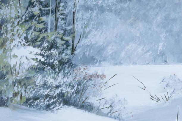 schneebedeckte winterwaldöl-malerei auf leinwand. - waldmalerei stock-fotos und bilder