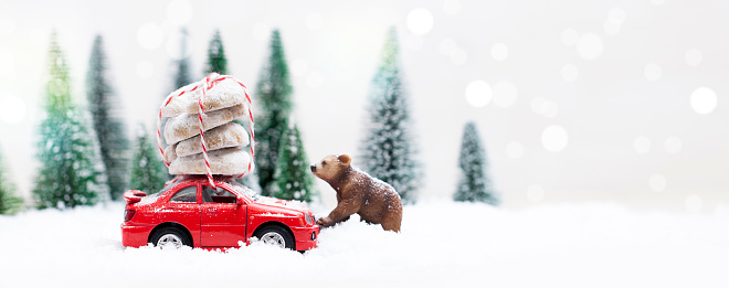 snowy winter forest with a grizzly bear and red car stock. Black Bedroom Furniture Sets. Home Design Ideas
