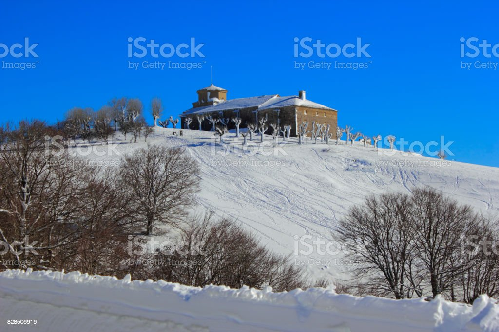 Snowy winter in the mountains in Spain stock photo