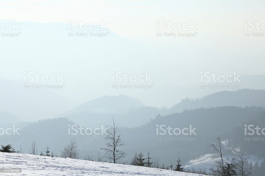 snowy winter landsacpe with sun royalty-free stock photo