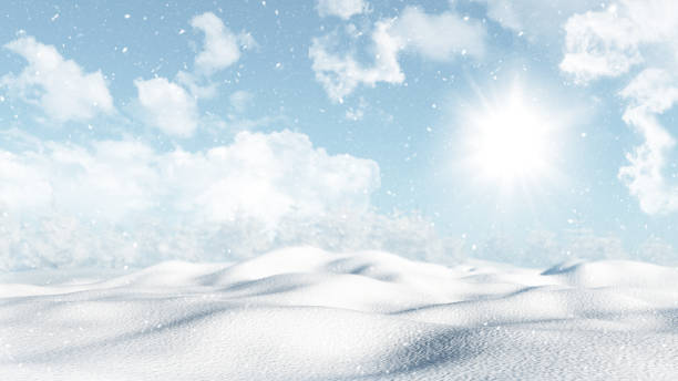 3D snowy winter landscape stock photo