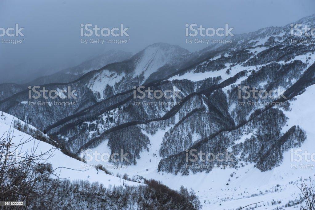 Snowy Winter Mountains In Sun Day Caucasus Mountains Georgia