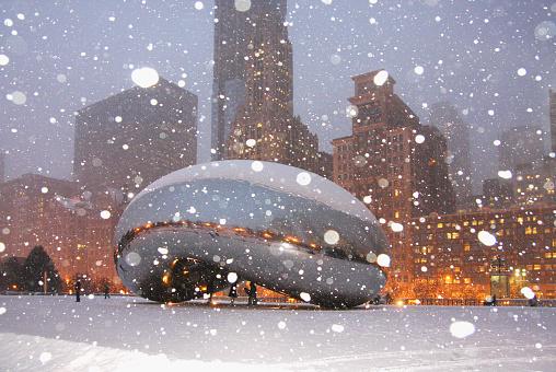 Snowy winter night in Chicago