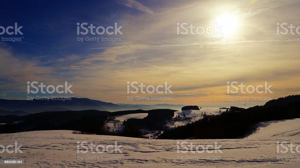 Snowy Winter scape near Freiburg im Breisgau in the black forest stock photo