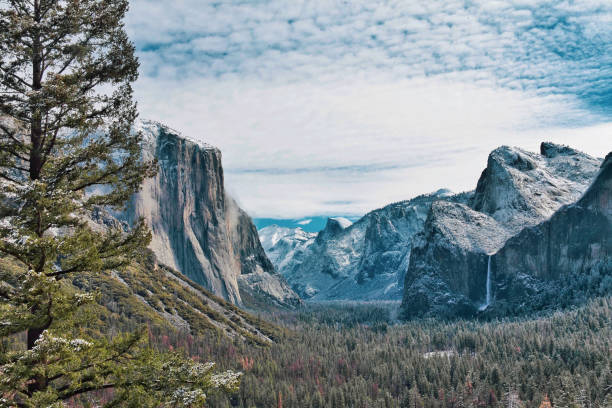 Snowy Yosemite Valley Winter View of Yosemite Valley el capitan yosemite national park stock pictures, royalty-free photos & images