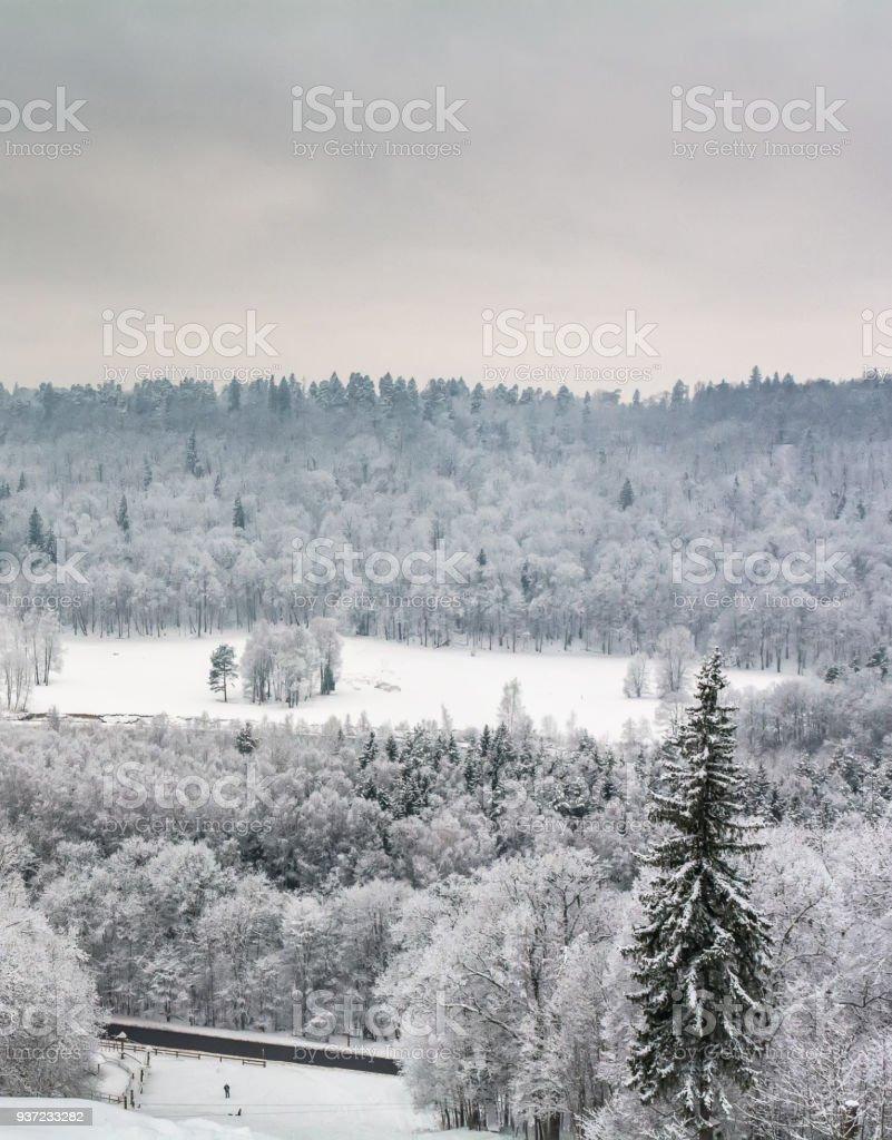 Snowy-bound Sigulda view stock photo