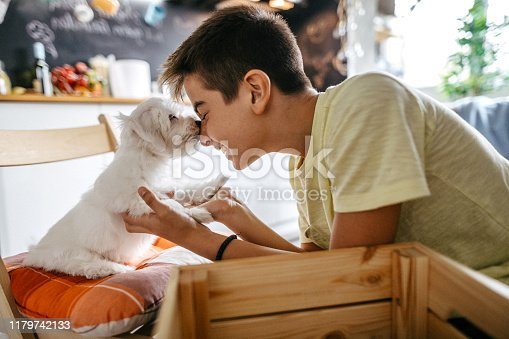 Love between pet and little owner, teenage boa and dog cuddling at house