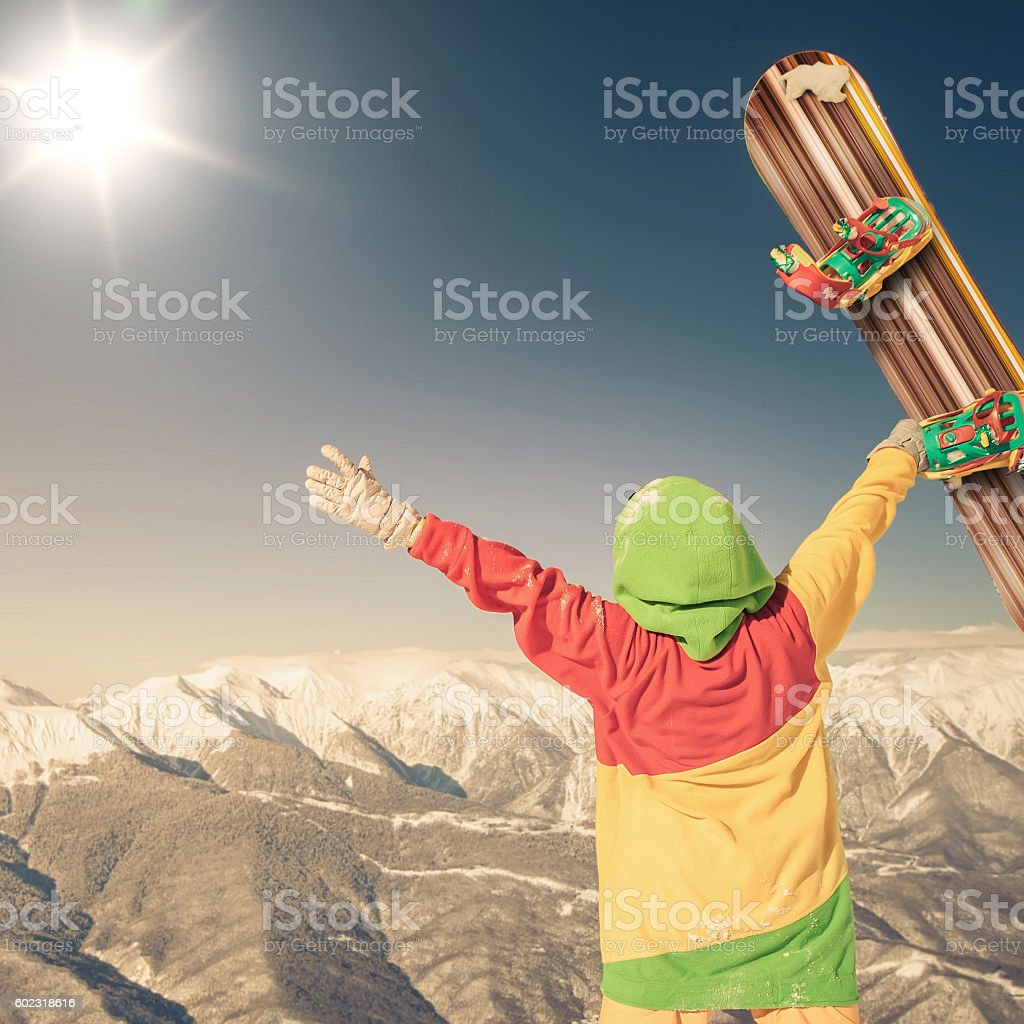 snwbrd image with a portrait of a female snowboarder, Grindelwald stock photo