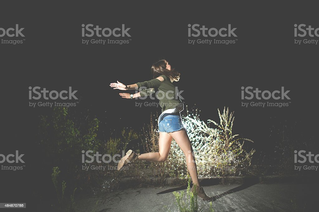 So happy and relaxed woman Hipster woman posing outdoors 20-29 Years Stock Photo
