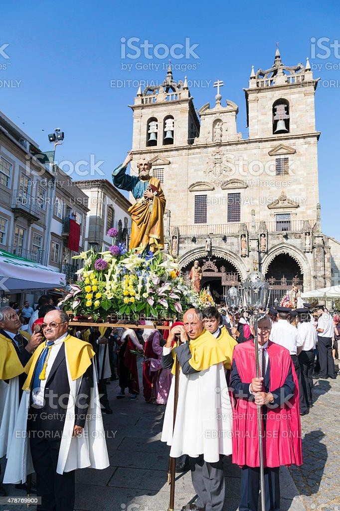 'São João' procession from Sé Cathedral in Braga stock photo