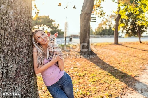 Photo of Beautiful young girl 28 year old holding pet dog chihuahua outdoors. Togetherness. Young blond hair Caucasian woman holds and kisses, embracing brown shaggy dog of Chihuahua breed,  on street in spring in Europe.