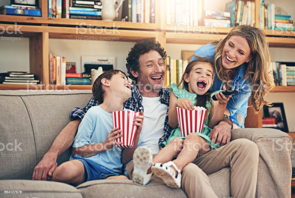 So many fun memories were made on family movie night stock photo