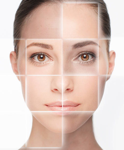 so many skin types - row of heads stock photos and pictures
