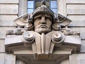 São Paulo, Brazil: face of the god Mercury with his winged hat (petasos) - old court building on Pátio do Colégio square - Art Déco style - First Court of Civil Jurisdiction / Primeiro Tribunal da Alçada Civil - architect Felisberto Ranzini, of the Ramos de Azevedo bureau - opened in 1937 as the Stock Exchange headquarters; later it housed the State Agriculture Bureau - photo by M.Torres